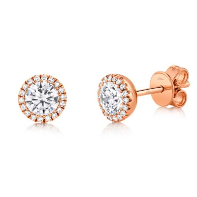 0.80ct Round Brilliant Center and 0.10ct Side 14k Rose Gold Diamond Stud Earring