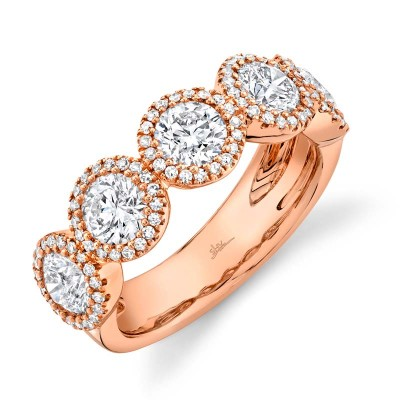 2.00ct Round Brilliant Center and 0.28ct Side 14k Rose Gold Diamond Lady's Band