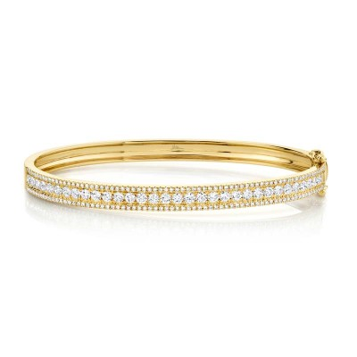 1.70ct 14k Yellow Gold Diamond Bangle