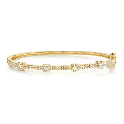 0.52ct 14k Yellow Gold Diamond Baguette Bangle