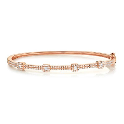 0.52ct 14k Rose Gold Diamond Baguette Bangle