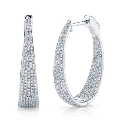 1.73ct 14k White Gold Diamond Pave Oval Hoop Earring