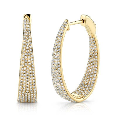 1.73ct 14k Yellow Gold Diamond Pave Oval Hoop Earring