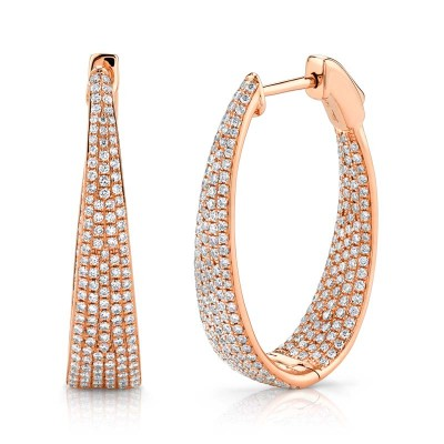 1.73ct 14k Rose Gold Diamond Pave Oval Hoop Earring