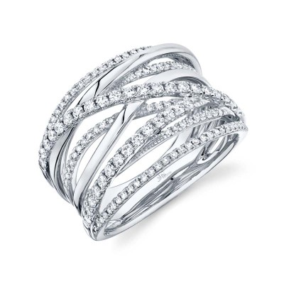 0.62ct 14k White Gold Diamond Bridge Ring