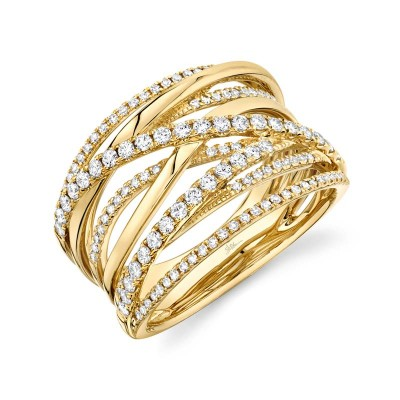 0.62ct 14k Yellow Gold Diamond Bridge Ring