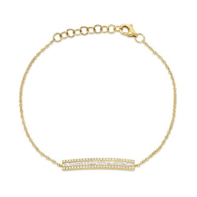 0.40ct 14k Yellow Gold Diamond Baguette Bar Bracelet