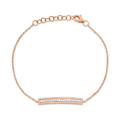 0.40ct 14k Rose Gold Diamond Baguette Bar Bracelet