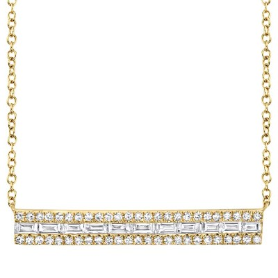 0.40ct 14k Yellow Gold Diamond Baguette Bar Necklace