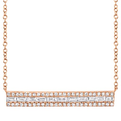 0.40ct 14k Rose Gold Diamond Baguette Bar Necklace