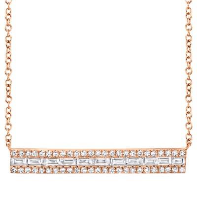 0.40ct 14k Rose Gold Diamond Baguette Bar Necklace