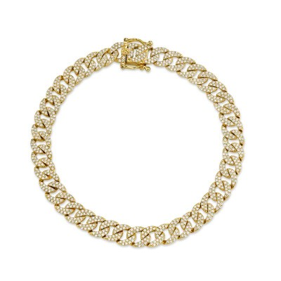 1.69ct 14k Yellow Gold Diamond Pave Chain Bracelet