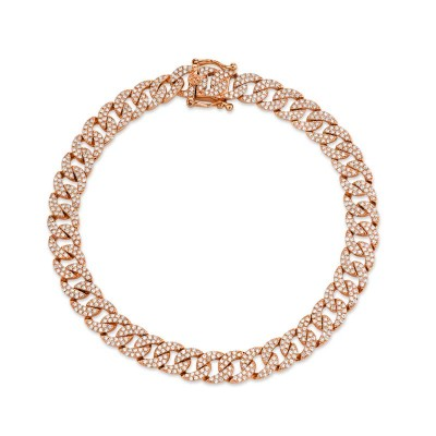 1.69ct 14k Rose Gold Diamond Pave Chain Bracelet