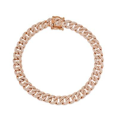 1.69ct 14k Rose Gold Diamond Pave Chain Bracelet