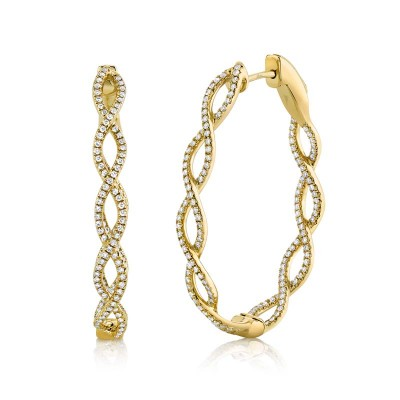 0.89ct 14k Yellow Gold Diamond Oval Hoop Earring