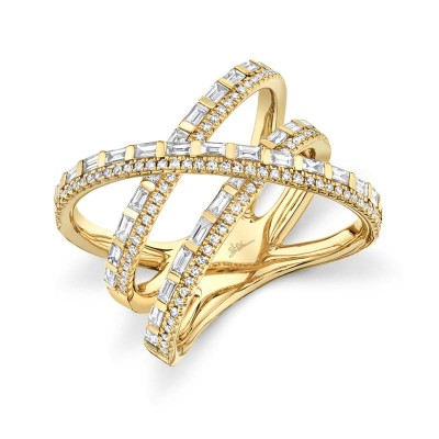 1.08ct 14k Yellow Gold Diamond Baguette Bridge Ring