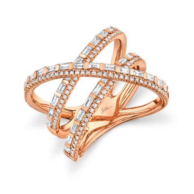 1.08ct 14k Rose Gold Diamond Baguette Bridge Ring