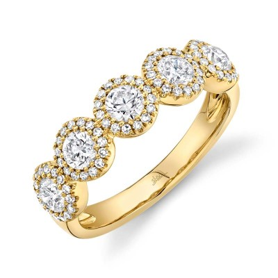 1.00ct Round Brilliant Center and 0.25ct Side 14k Yellow Gold Diamond Lady's Band