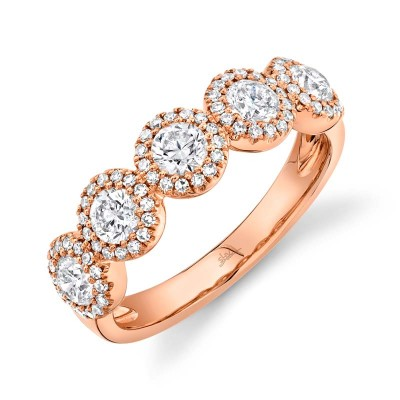 1.00ct Round Brilliant Center and 0.25ct Side 14k Rose Gold Diamond Lady's Band