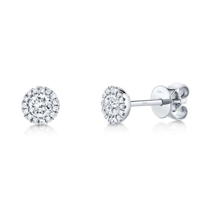 0.40ct Round Brilliant Center and 0.08ct Side 14k White Gold Diamond Stud Earring