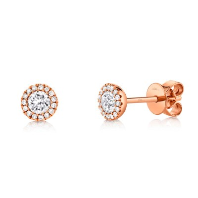 0.40ct Round Brilliant Center and 0.08ct Side 14k Rose Gold Diamond Stud Earring