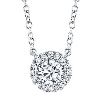 0.20ct Round Brilliant Center and 0.05ct Side 14k White Gold Diamond Necklace