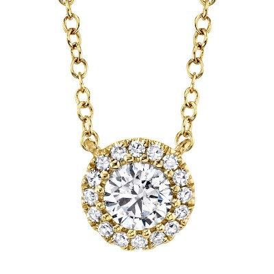 0.20ct Round Brilliant Center and 0.05ct Side 14k Yellow Gold Diamond Necklace