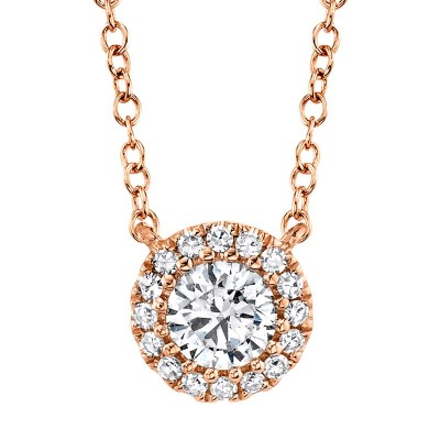 0.20ct Round Brilliant Center and 0.05ct Side 14k Rose Gold Diamond Necklace