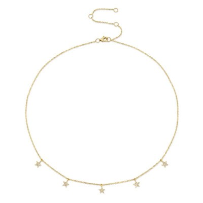 0.13ct 14k Yellow Gold Diamond Pave Star Necklace