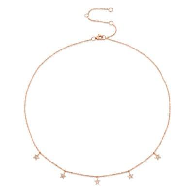 0.13ct 14k Rose Gold Diamond Pave Star Necklace