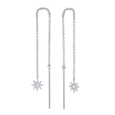 0.10ct 14k White Gold Diamond Star Threader Earring