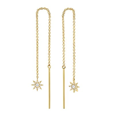 0.10ct 14k Yellow Gold Diamond Star Threader Earring