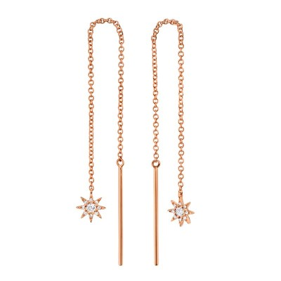 0.10ct 14k Rose Gold Diamond Star Threader Earring