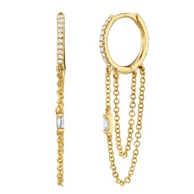 0.18ct 14k Yellow Gold Diamond Baguette Huggie Earring