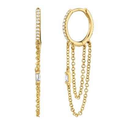 0.18ct 14k Yellow Gold Diamond Baguette Huggie Earring