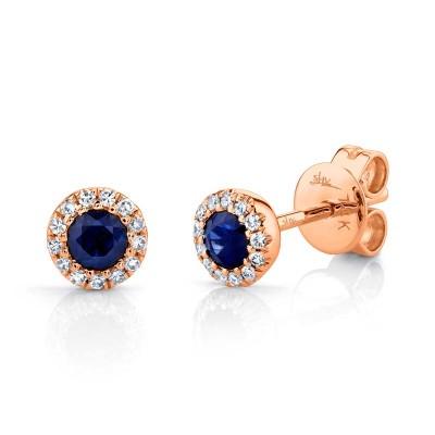 0.08ct Diamond & 0.28ct Blue Sapphire 14k Rose Gold Stud Earring
