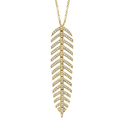 0.29ct 14k Yellow Gold Diamond Feather Necklace