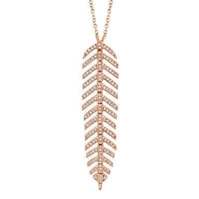 0.29ct 14k Rose Gold Diamond Feather Necklace