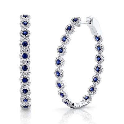 0.86ct Diamond & 1.83ct Blue Sapphire 14k White Gold Diamond Oval Hoop Earring