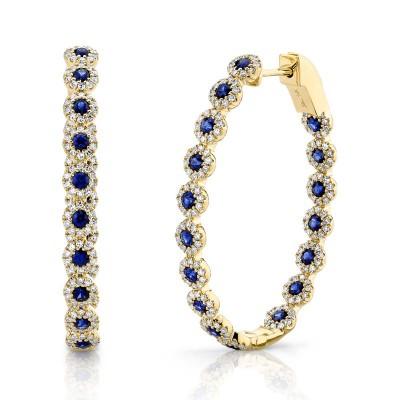 0.86ct Diamond & 1.83ct Blue Sapphire 14k Yellow Gold Diamond Oval Hoop Earring
