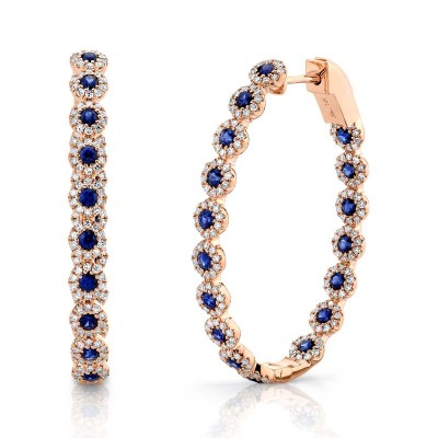 0.86ct Diamond & 1.83ct Blue Sapphire 14k Rose Gold Diamond Oval Hoop Earring