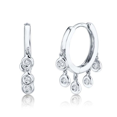 0.17ct 14k White Gold Diamond Hoop Earring