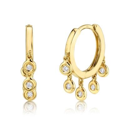 0.17ct 14k Yellow Gold Diamond Hoop Earring