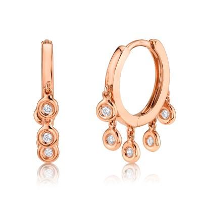 0.17ct 14k Rose Gold Diamond Hoop Earring