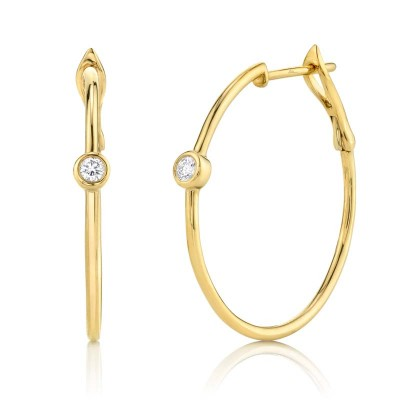 0.14ct 14k Yellow Gold Diamond Bezel Hoop Earring