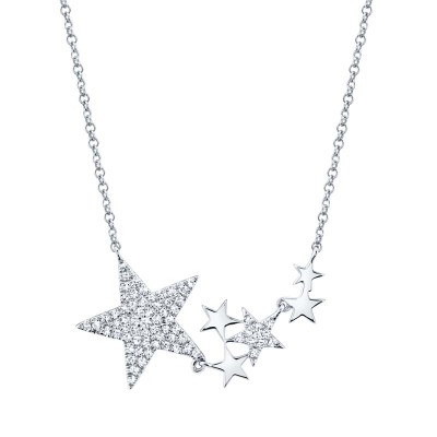 0.18ct 14k White Gold Diamond Star Necklace