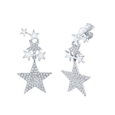 0.35ct 14k White Gold Diamond Star Earring