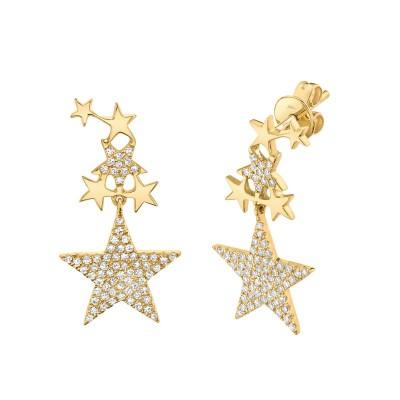 0.35ct 14k Yellow Gold Diamond Star Earring