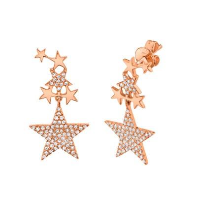 0.35ct 14k Rose Gold Diamond Star Earring