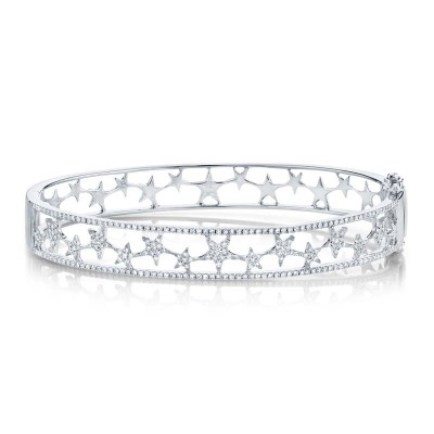 0.72ct 14k White Gold Diamond Star Bangle